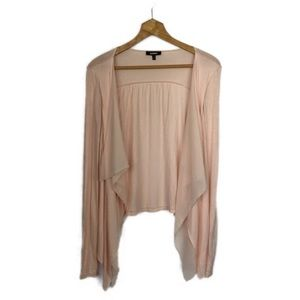Express Blush Pink Open Front Waterfall Cardigan